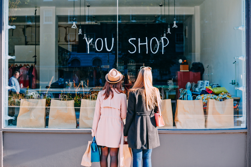 Girlfriends window shopping